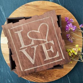 "Подарочные коробки, деревянная подарочная коробка с гравировкой ""Love"""