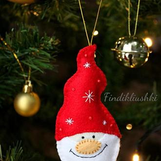"""Новогодняя игрушка на ёлку """"Веселый гномик"""". Ёлочная игрушка гном"""