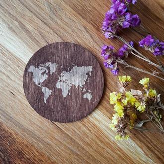 """Подставки под горячее, набор из 6 круглых подставок """"Карта мира"""""""