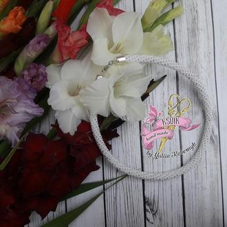 Жгут-колье Белый горошек