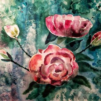 """Картина 30*40 акварель """"Розы"""""""
