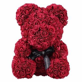 Мишка из латексных роз 3D бордо