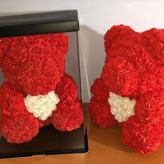 Большой Мишка из латексных роз 3D красный