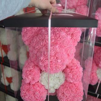 Большой Мишка из латексных роз 3D розовый