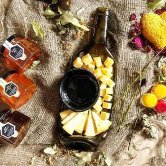 Подарочный набор: мед Карпат, свеча сердце, бальзам для губ, пиала и тарелка