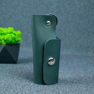 Ключница на кнопке №16, матовая кожа Grand, цвет зеленый