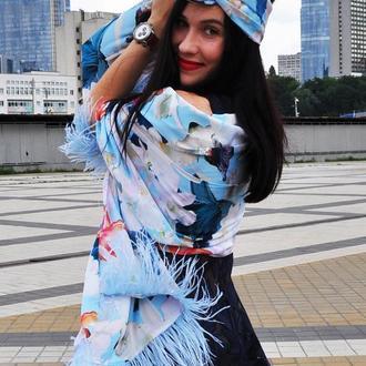 """Яркий летний набор """"Орхидеи голубых грез"""" My Scarf ( большой шелковый шарф+тюрбан)"""