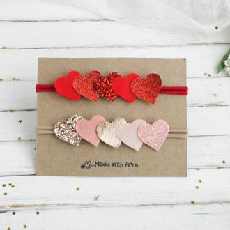 Повязка с сердечками для малышки на день Святого Валентина / Повязки для девочки