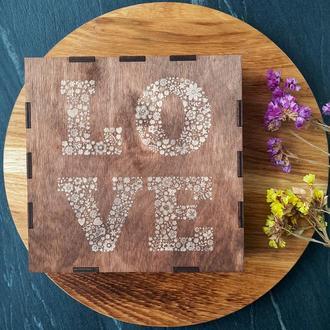 Подарочные коробки, деревянная подарочная коробка с гравировкой, к 14 февраля (6 размеров)