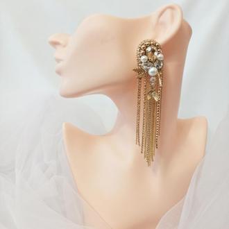 Вечерние сережки с цирконием и перламутром, стразовые серьги золотого цвета