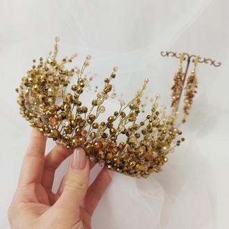 Набір прикрас на випускний, золота корона і сережки з кришталю