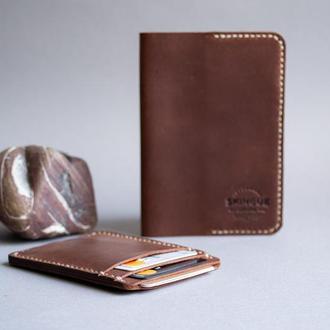 Обложка для паспорта + кардхолдер комплект, коричневый