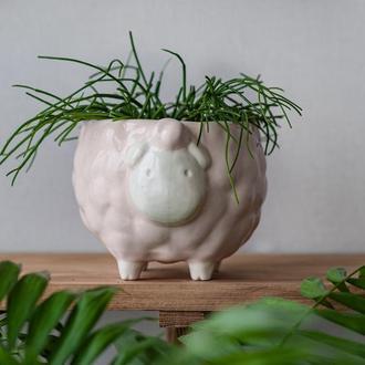 Керамический горшок для растений Овечка розовая, размер L