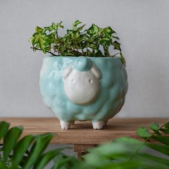 Керамический горшок для растений Овечка мятная, размер L