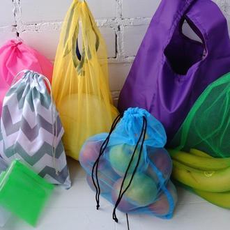 Эко сумка-маечка,эко мешочки, эко пакеты, большой набор для покупок 9 предметов