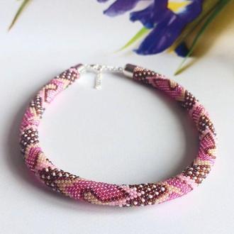 Жгут из бисера Нежное колье - подарок для девушке Розовое колье из бисера