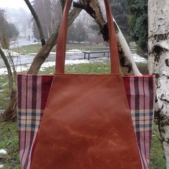 """Женская сумка через плечо из натуральной кожи """"Крэйзи хорс"""" и плотной """"Рогожки""""."""