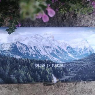 Купюрница декупаж с красивыми изображениями и мотивационными надписями