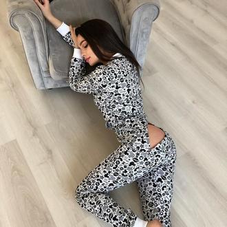 Жіноча попожама кігурумі для дому та сну у сірому кольорі з візерунком на подарунок