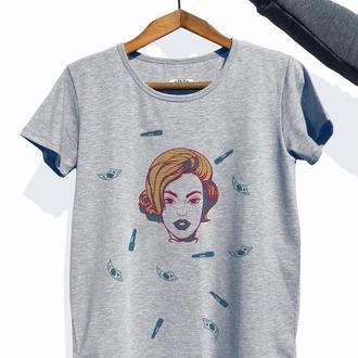 """Женская футболка с авторским принтом """"Girl"""""""