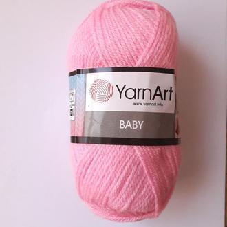 Пряжа нитки для вязания для детей BABY Yarnart 100% акрил. 50 грамм, розовая 10119