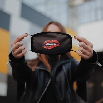 Жіноча маска для обличчя Губи. Оригінальний принт