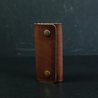 Кожаная ключница на кнопках, кожа итальянский краст, цвет коричневый