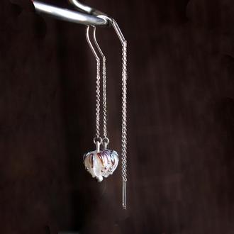 Серебряные серьги протяжки с нежными цветками