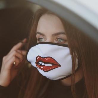 Маска біла багаторазова з Губами, Жіноча маска для обличчя