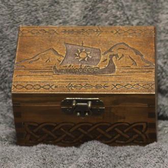 Шкатулка с секретным отсеком Викинги - Драккар