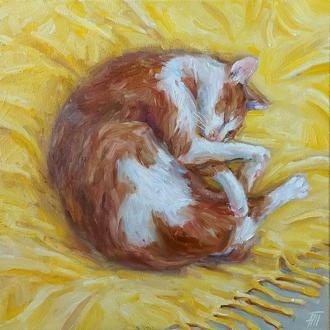 Картина олійними фарбами з котом  з тваринами купити Київ Україна