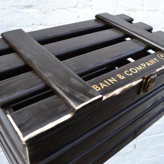Деревянный ящик реечный с крышкой,Деревянная подарочная упаковка, коробка, ящик, чемодан,