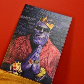 Деревянный постер Танос, картина из дерева Марвел, подарок, панно из дерева, деревянное панно