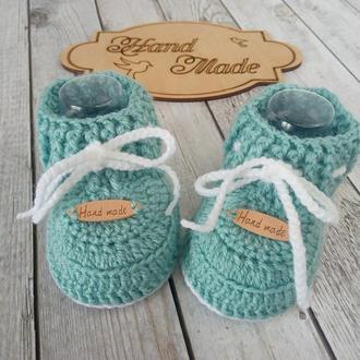 Вязаные детские пинетки, пинетки ботиночки