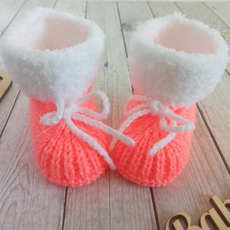 Вязаные детские пинетки, пинетки носочки, пинетки ботиночки, вязаные пинетки сапожки