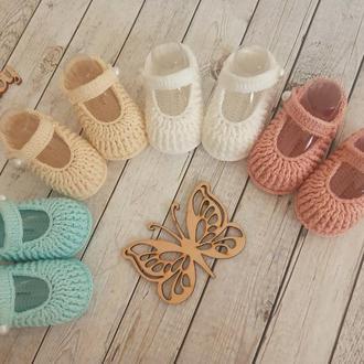 Вязаные пинетки-туфельки, вязаные пинетки, нарядные пинетки для девочки
