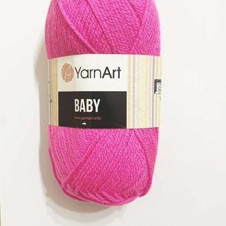 Пряжа нитки для вязания для детей BABY Yarnart 100% акрил. 50 грам, розово-малиновый яркий 174