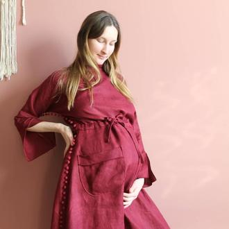 Льняное бохо платье с завязкой на талии  накладными карманами и необработанными краями