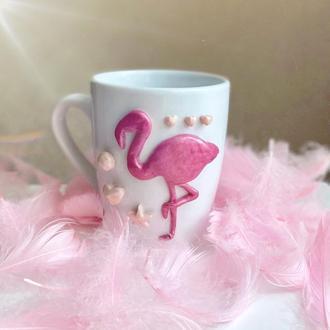Кружка с декором фламинго