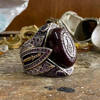 Перстень необычный в редкой и винтажной форме в османском восточном стиле с гравировкой