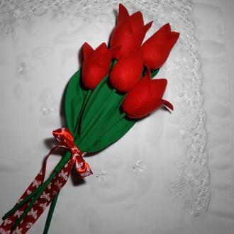 """Текстильные тюльпаны """"Тильда"""" из флиса. Оригинальный подарок."""