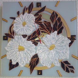 """Часы настенные  с витражной росписью """"Просто цветы"""""""