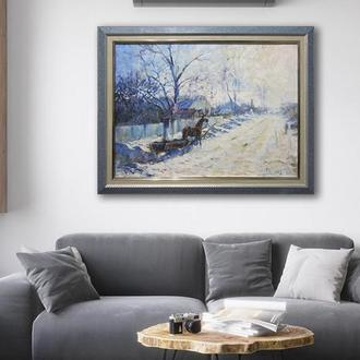 Картина маслом. Олійний живопис. Живопись. Зима. Конь. Пейзаж