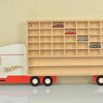 Полка для машинок Hot Wheels Van Хот Вилс фургон на 40 мест + две дополнительные полочки