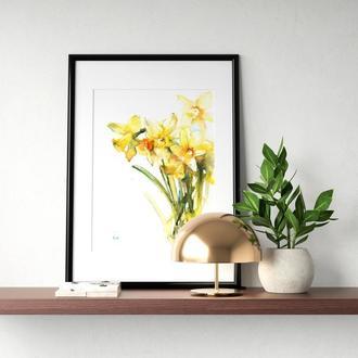 """Акварельные цветы """"Желтые нарциссы"""""""