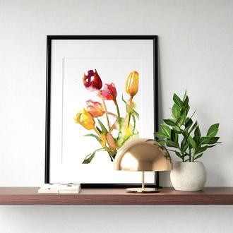 """Акварельні квіти """"Букет тюльпанів"""""""