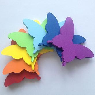 Радуга, бабочки из картона на стену 3Д, 42 шт.