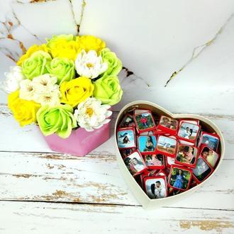 Шоколадный подарочный набор с вашим фото и вашим текстом на 50 шоколадок. Подарок на День рождения