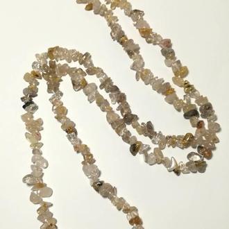 Бусы длинные Кварц Волосатик, натуральный камень, длина 100 см \ Sk - 0071