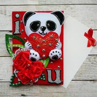 Открытка  на День святого Валентина с пандой